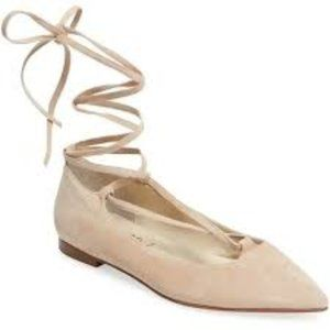 Butter 'Ponpon' Lace Up Pointy Tan Suede Flats - 8